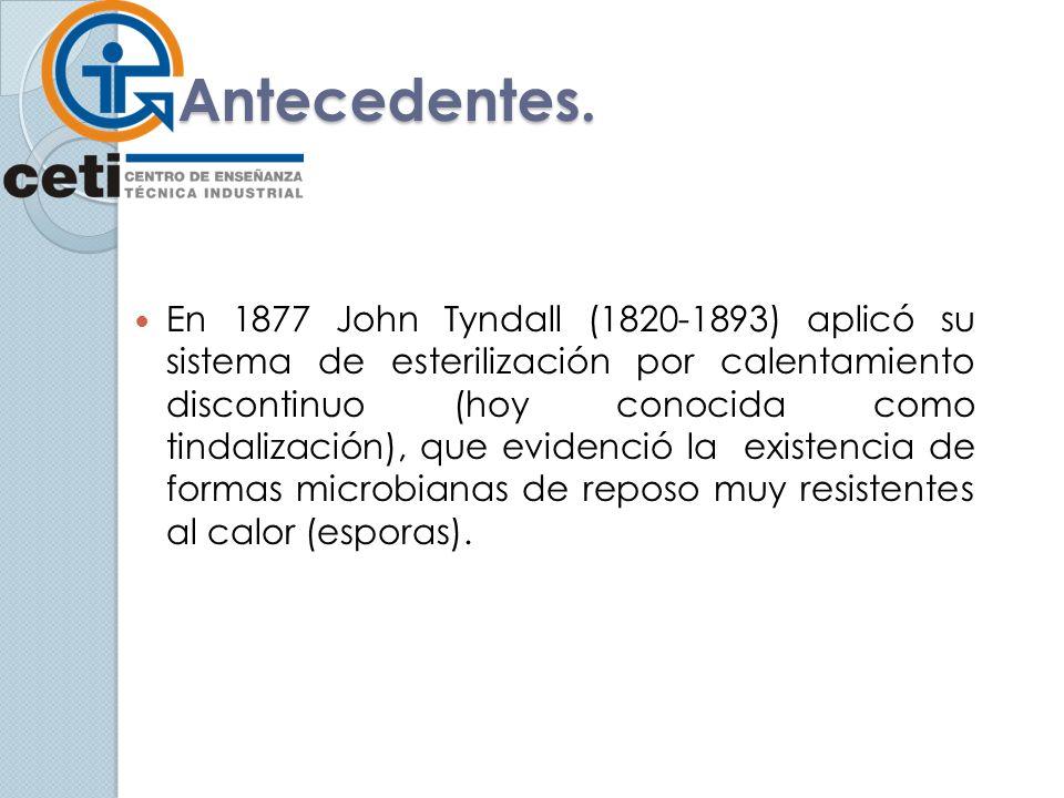 Antecedentes. En 1877 John Tyndall (1820-1893) aplicó su sistema de esterilización por calentamiento discontinuo (hoy conocida como tindalización), qu