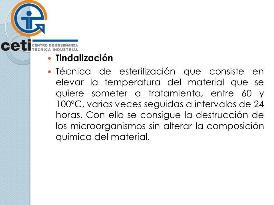 Tindalización Técnica de esterilización que consiste en elevar la temperatura del material que se quiere someter a tratamiento, entre 60 y 100ºC, varias veces seguidas a intervalos de 24 horas.