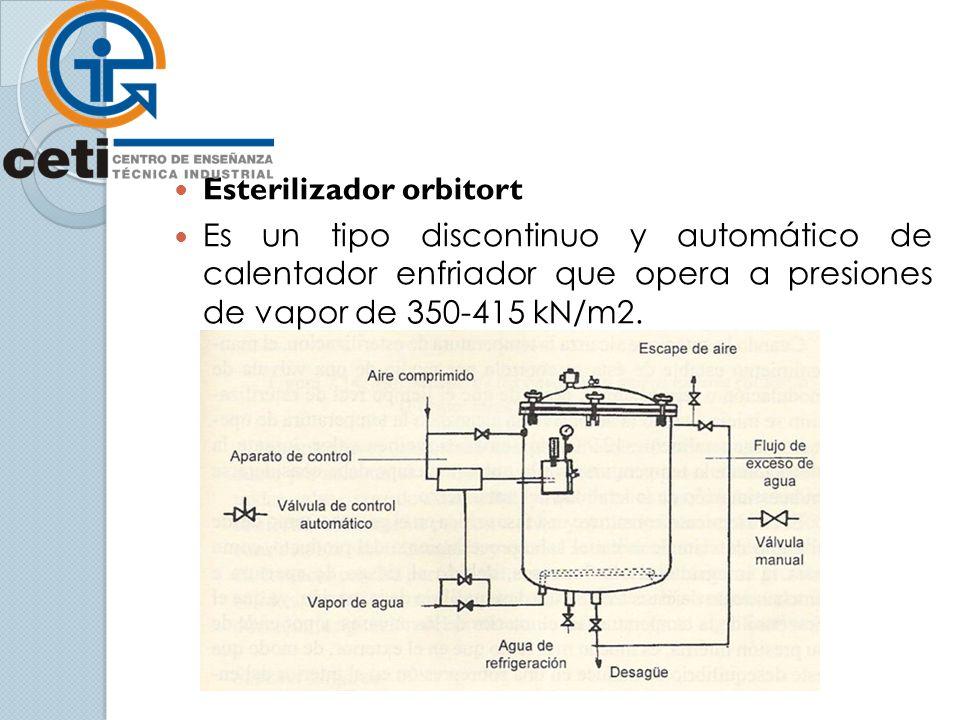 Esterilizador orbitort Es un tipo discontinuo y automático de calentador enfriador que opera a presiones de vapor de 350-415 kN/m2.