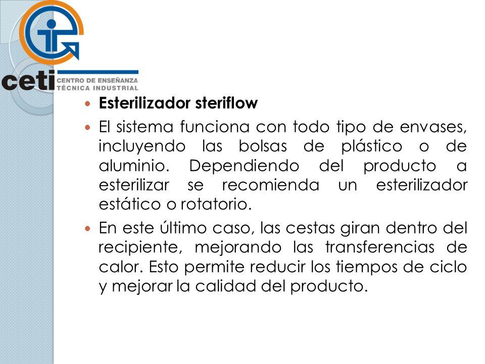 Esterilizador steriflow El sistema funciona con todo tipo de envases, incluyendo las bolsas de plástico o de aluminio. Dependiendo del producto a este