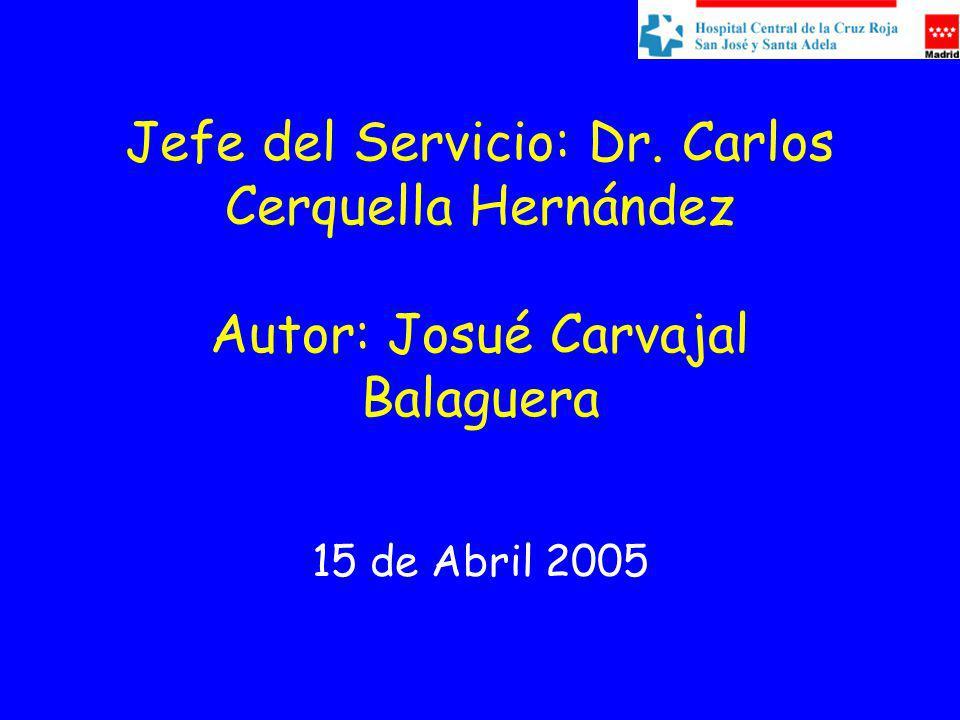 Jefe del Servicio: Dr. Carlos Cerquella Hernández Autor: Josué Carvajal Balaguera 15 de Abril 2005