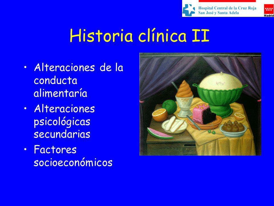 Historia clínica II Alteraciones de la conducta alimentaría Alteraciones psicológicas secundarias Factores socioeconómicos