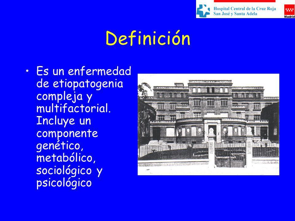 Definición Es un enfermedad de etiopatogenia compleja y multifactorial. Incluye un componente genético, metabólico, sociológico y psicológico
