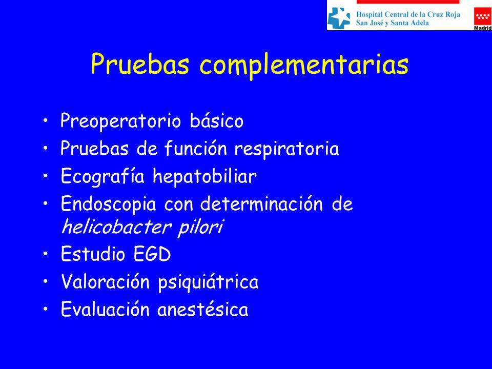 Pruebas complementarias Preoperatorio básico Pruebas de función respiratoria Ecografía hepatobiliar Endoscopia con determinación de helicobacter pilori Estudio EGD Valoración psiquiátrica Evaluación anestésica