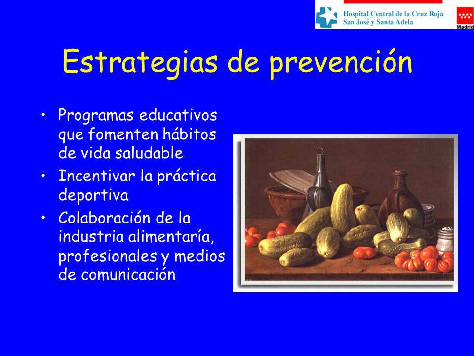 Estrategias de prevención Programas educativos que fomenten hábitos de vida saludable Incentivar la práctica deportiva Colaboración de la industria alimentaría, profesionales y medios de comunicación