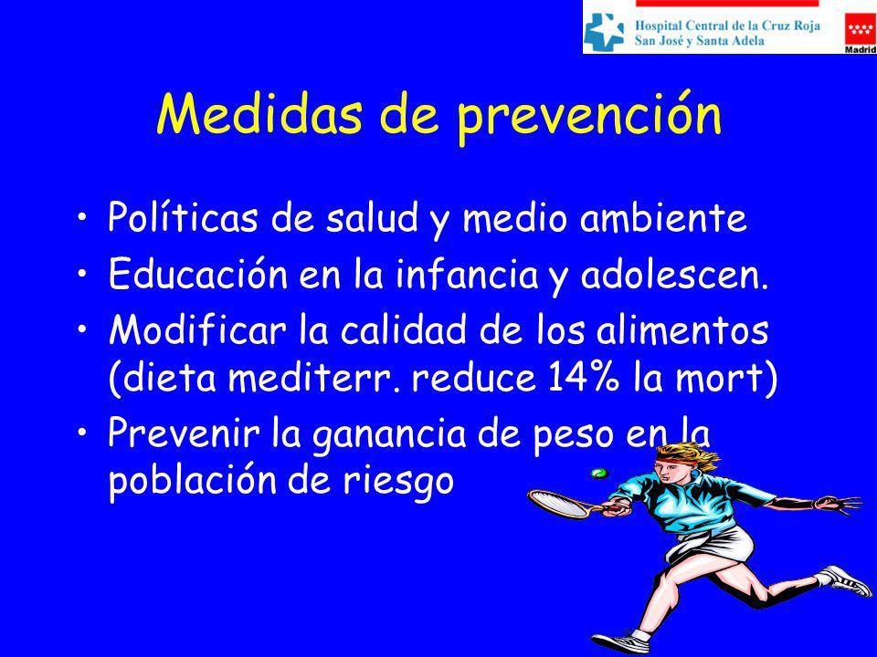 Medidas de prevención Políticas de salud y medio ambiente Educación en la infancia y adolescen. Modificar la calidad de los alimentos (dieta mediterr.
