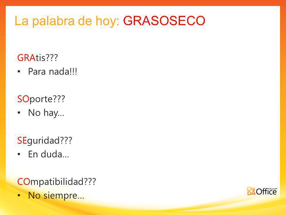 La palabra de hoy: GRASOSECO GRAtis??.Para nada!!.