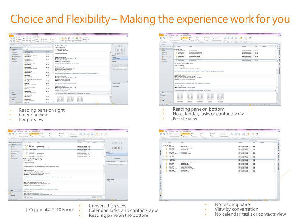 | Copyright© 2010 Microsoft Corporation Choice and Flexibility – Making the experience work for you Reading pane on right Calendar view People view No reading pane View by conversation No calendar, tasks or contacts view Reading pane on bottom No calendar, tasks or contacts view People view Conversation view Calendar, tasks, and contacts view Reading pane on the bottom