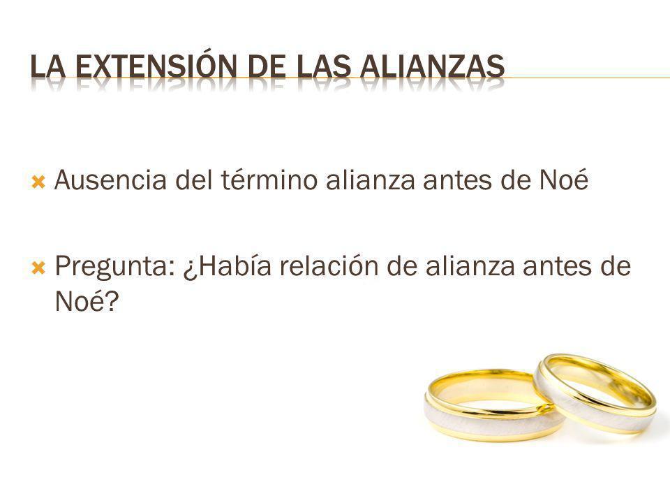 Ausencia del término alianza antes de Noé Pregunta: ¿Había relación de alianza antes de Noé?