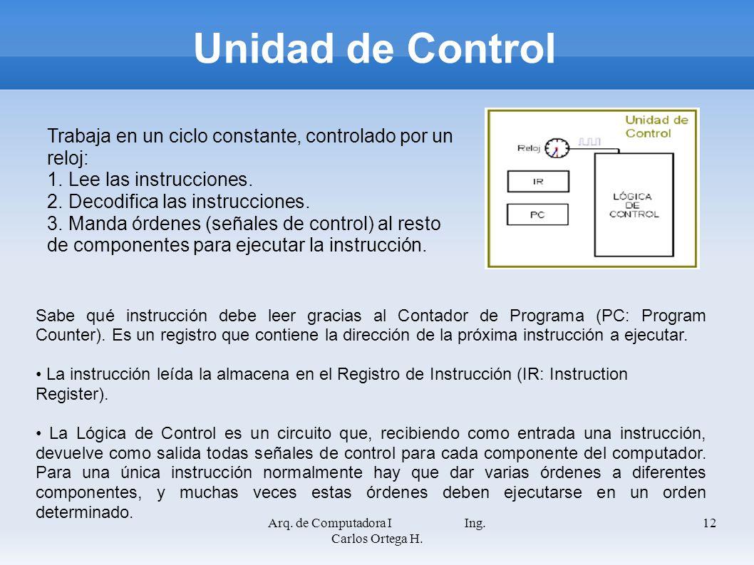 Arq. de Computadora I Ing. Carlos Ortega H. 12 Unidad de Control Sabe qué instrucción debe leer gracias al Contador de Programa (PC: Program Counter).