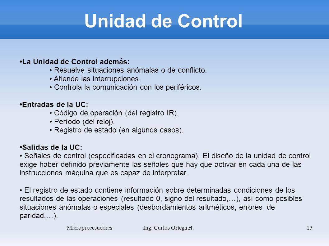 13 La Unidad de Control además: Resuelve situaciones anómalas o de conflicto. Atiende las interrupciones. Controla la comunicación con los periféricos