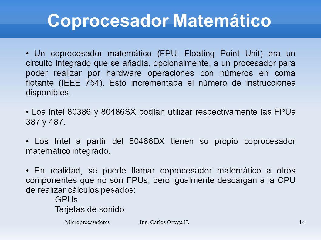 14 Coprocesador Matemático Un coprocesador matemático (FPU: Floating Point Unit) era un circuito integrado que se añadía, opcionalmente, a un procesad