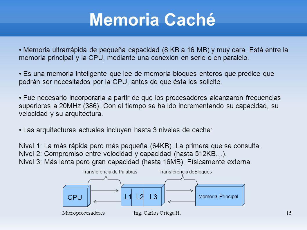 15 Memoria Caché Memoria ultrarrápida de pequeña capacidad (8 KB a 16 MB) y muy cara. Está entre la memoria principal y la CPU, mediante una conexión
