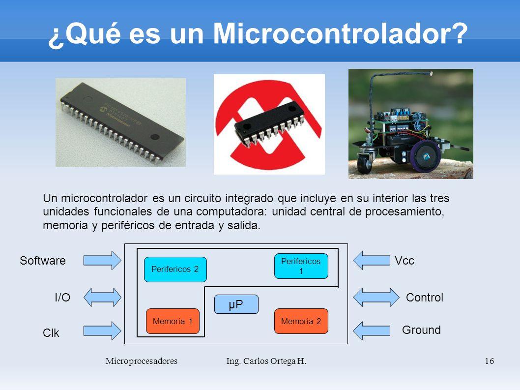 16 ¿Qué es un Microcontrolador? Un microcontrolador es un circuito integrado que incluye en su interior las tres unidades funcionales de una computado