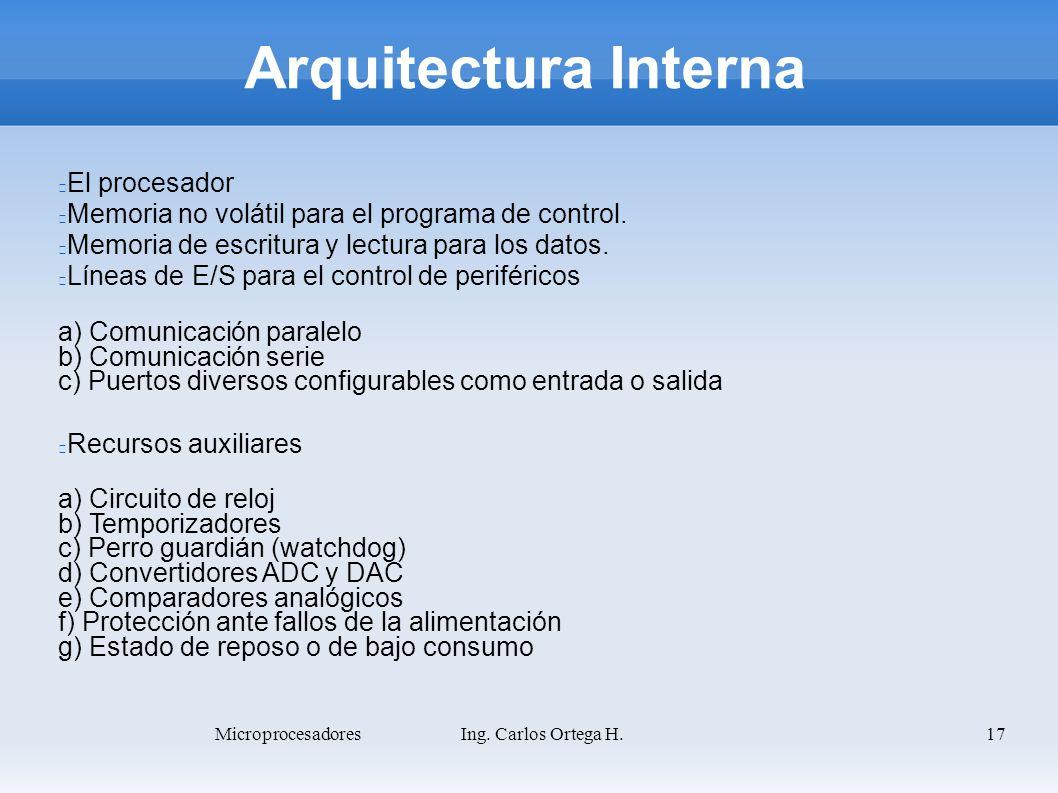 17 Arquitectura Interna El procesador Memoria no volátil para el programa de control. Memoria de escritura y lectura para los datos. Líneas de E/S par