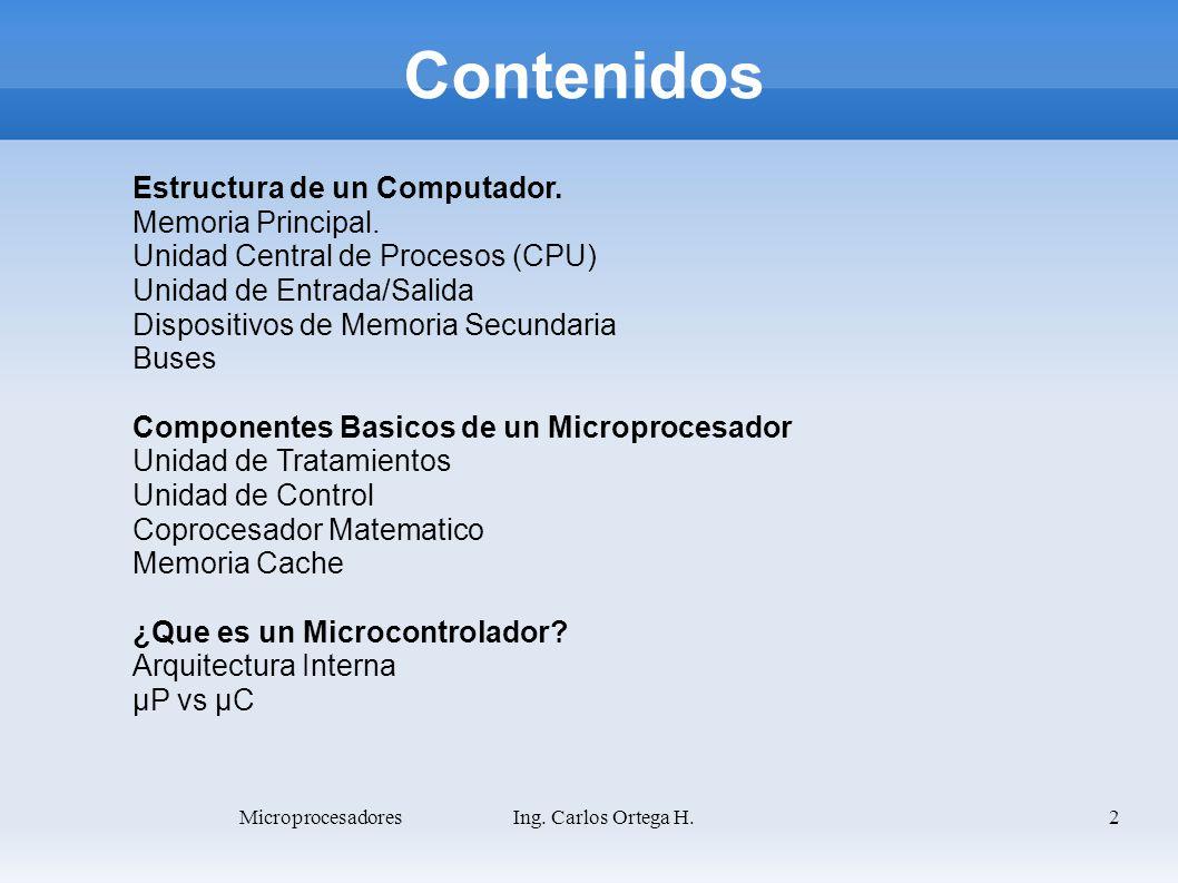 3 Estructura de un Computador Microprocesador Memoria Principal Dispositivo de Memoria Secundaria Perifericos de Entrada Perifericos de Salida Perifericos de Entrada/Salida Bus de Datos Bus de Direcciones Bus de Control Microprocesadores Ing.
