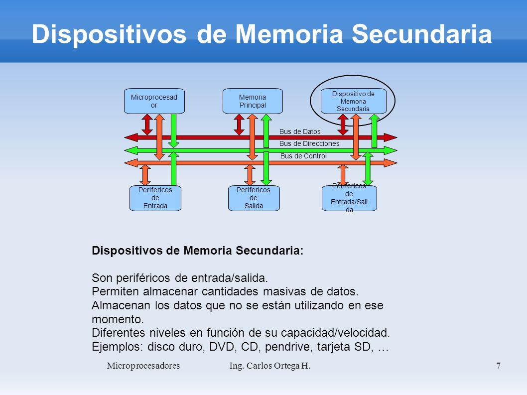 7 Dispositivos de Memoria Secundaria: Son periféricos de entrada/salida. Permiten almacenar cantidades masivas de datos. Almacenan los datos que no se