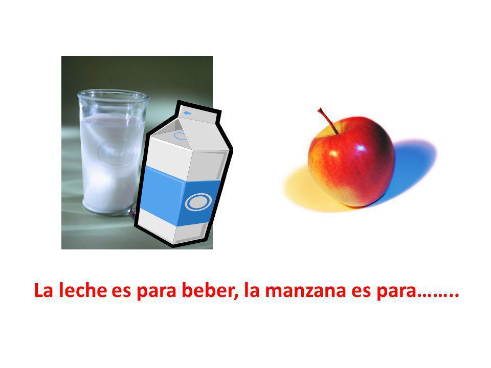 La leche es para beber, la manzana es para……..