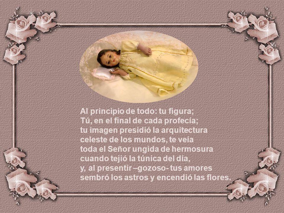 Tú, del Padre que, en campos de zafiro, es Lumbre pura, Manantial eterno; Tú, del Divino Espejo, en el que admiro, sin mancha alguna, el esplendor pat