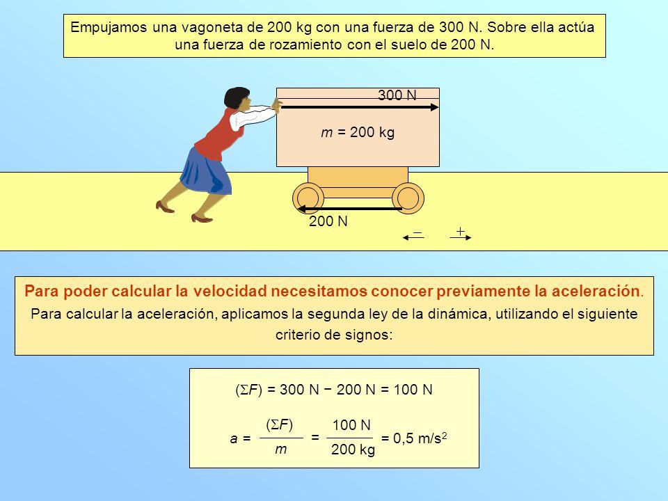 v = v 0 + a · t v = 0 + 0,5 · 10 = 5 m/s ( F) = 300 N 200 N = 100 N m = 200 kg 300 N 200 N ¿Qué velocidad llevará la vagoneta a los 10 segundos, suponiendo que antes de empezar a empujar se encontraba parada.
