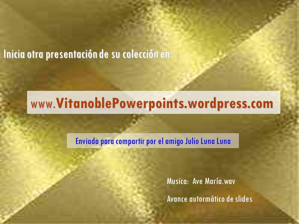 Enviada para compartir por el amigo Julio Luna Luna Inicia otra presentación de su colección en: www.VitanoblePowerpoints.wordpress.com Musica: Ave María.wav Avance autormático de slides