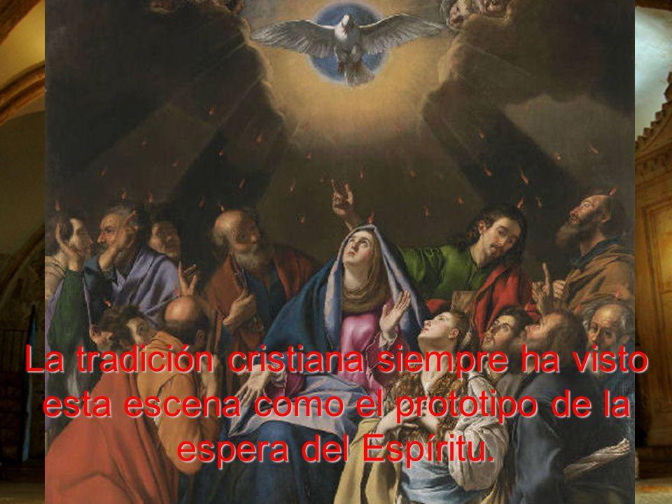 En la sala donde se tuvo la última Cena, solían reunirse, eran concordes, y oraban con algunas mujeres y con María.