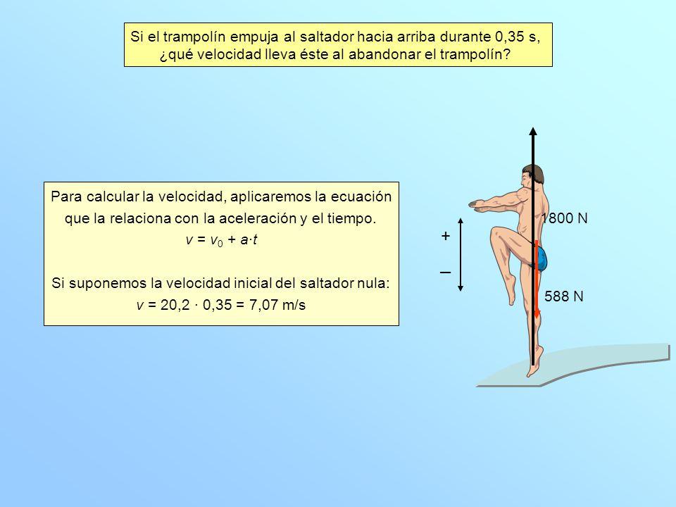 Si el trampolín empuja al saltador hacia arriba durante 0,35 s, ¿qué velocidad lleva éste al abandonar el trampolín? Para calcular la velocidad, aplic