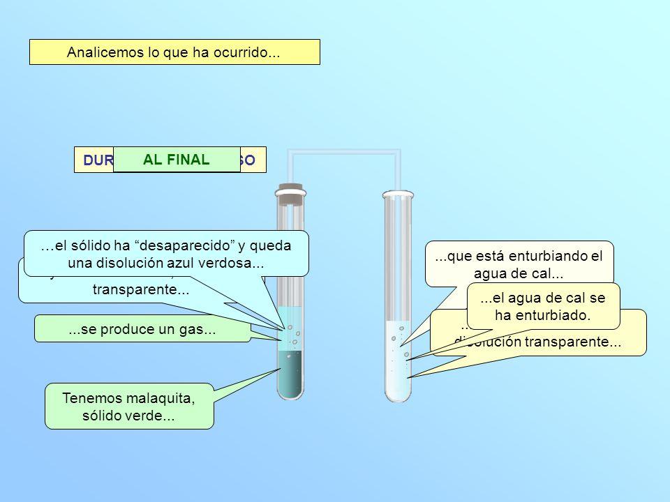 Se ha producido una reacción química ya que: * Han desaparecido sustancias, la malaquita y el ácido clorhídrico.
