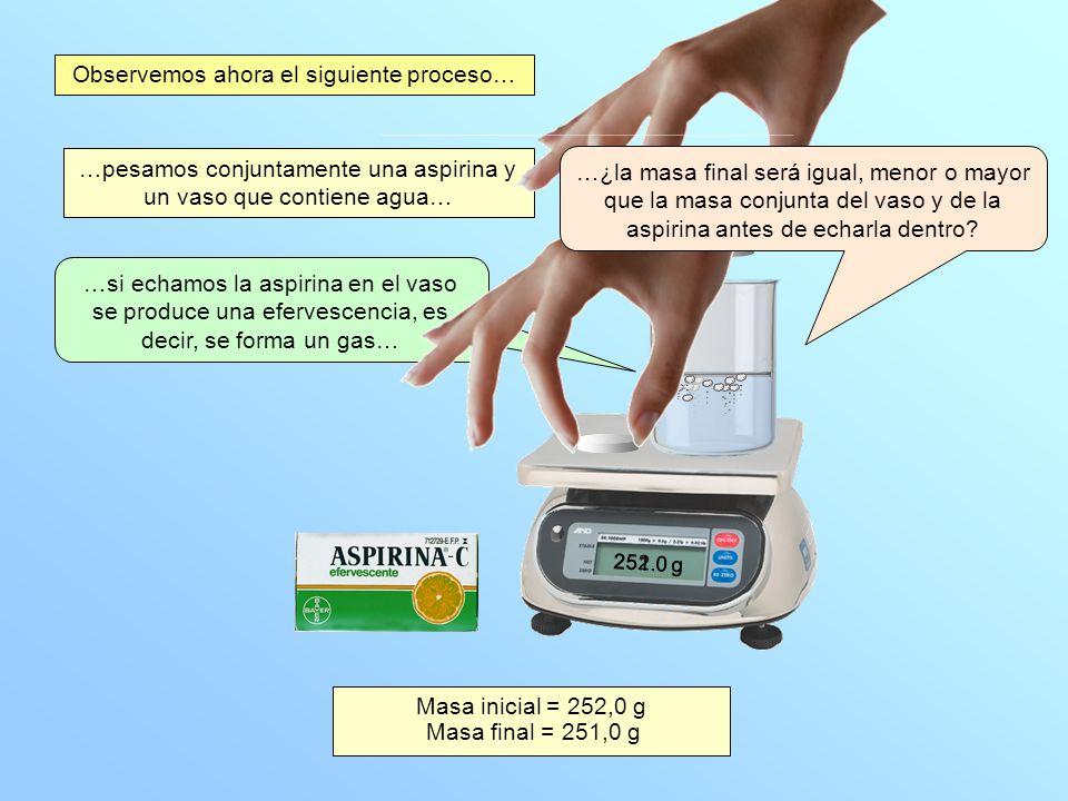 …pesamos conjuntamente una aspirina y un vaso que contiene agua… …si echamos la aspirina en el vaso se produce una efervescencia, es decir, se forma u