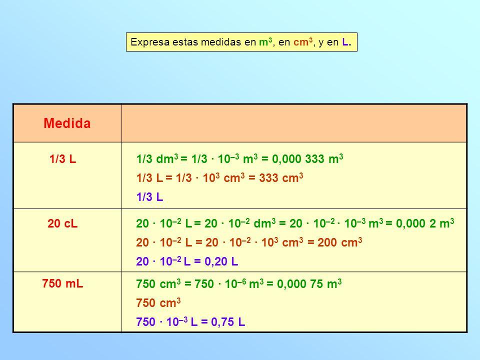 Medida 1/3 L1/3 dm 3 = 1/3 · 10 –3 m 3 = 0,000 333 m 3 Expresa estas medidas en m 3, en cm 3, y en L. 1/3 L = 1/3 · 10 3 cm 3 = 333 cm 3 1/3 L 20 cL20