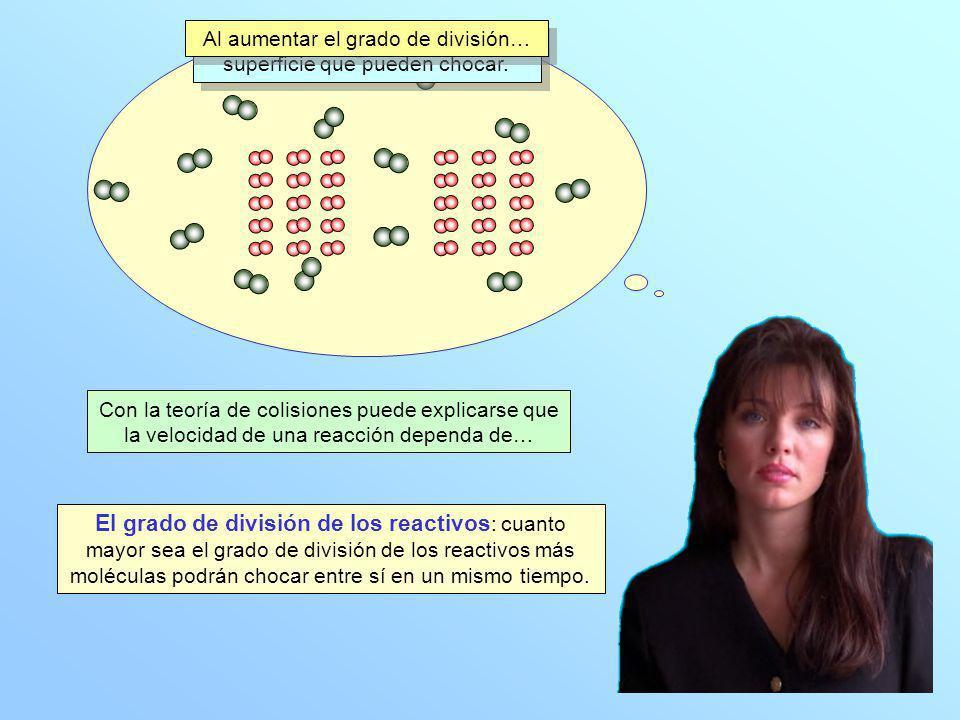 El grado de división de los reactivos : cuanto mayor sea el grado de división de los reactivos más moléculas podrán chocar entre sí en un mismo tiempo.