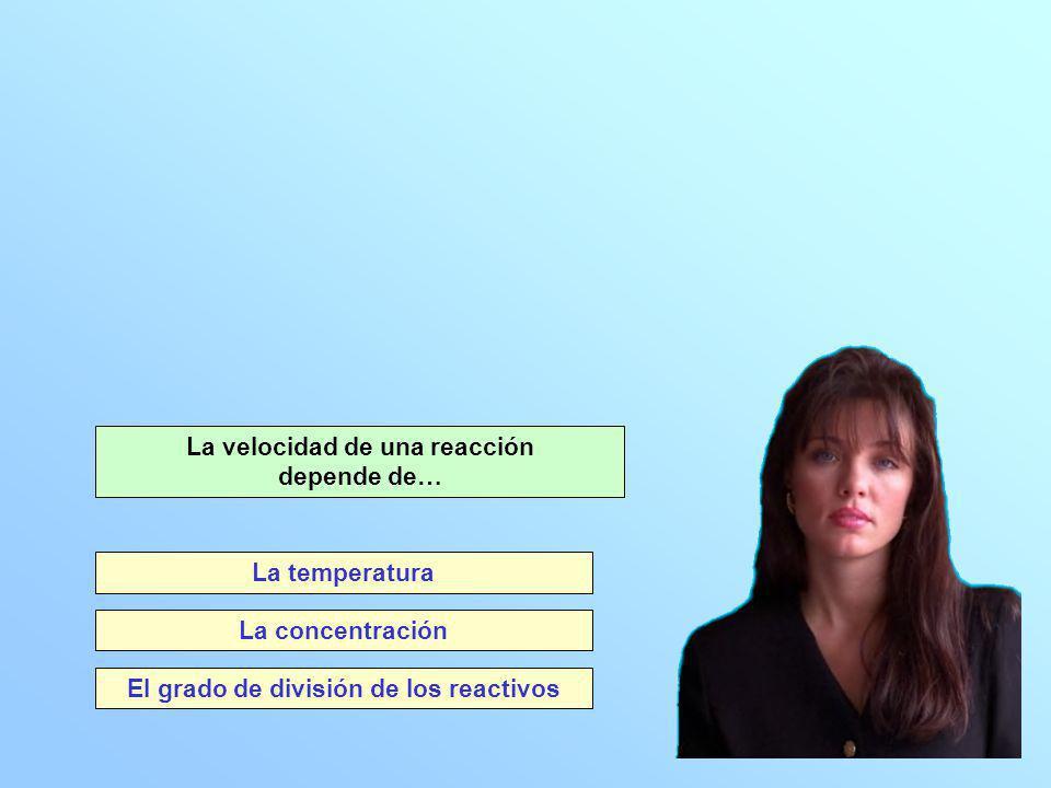 El grado de división de los reactivos La velocidad de una reacción depende de… La concentración La temperatura