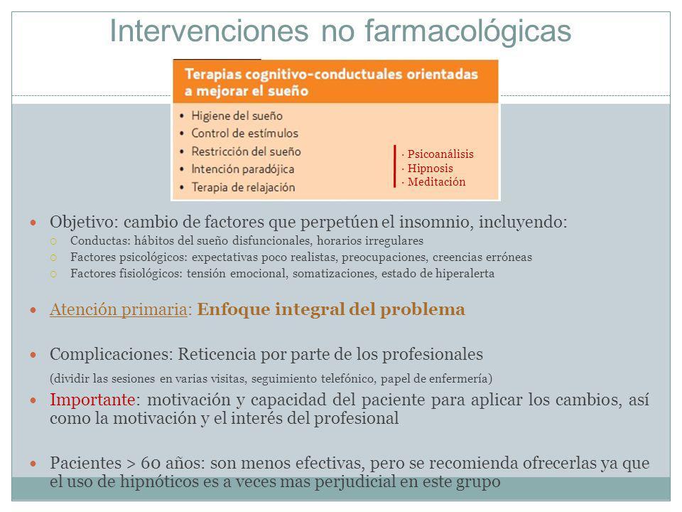 Intervenciones no farmacológicas Objetivo: cambio de factores que perpetúen el insomnio, incluyendo: Conductas: hábitos del sueño disfuncionales, hora