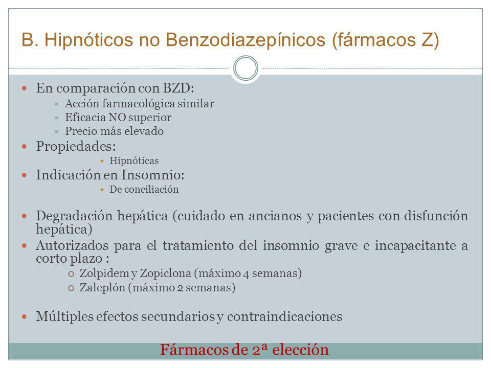 B. Hipnóticos no Benzodiazepínicos (fármacos Z) En comparación con BZD: Acción farmacológica similar Eficacia NO superior Precio más elevado Propiedad