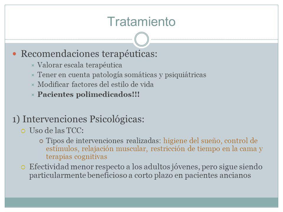 Tratamiento Recomendaciones terapéuticas: Valorar escala terapéutica Tener en cuenta patología somáticas y psiquiátricas Modificar factores del estilo