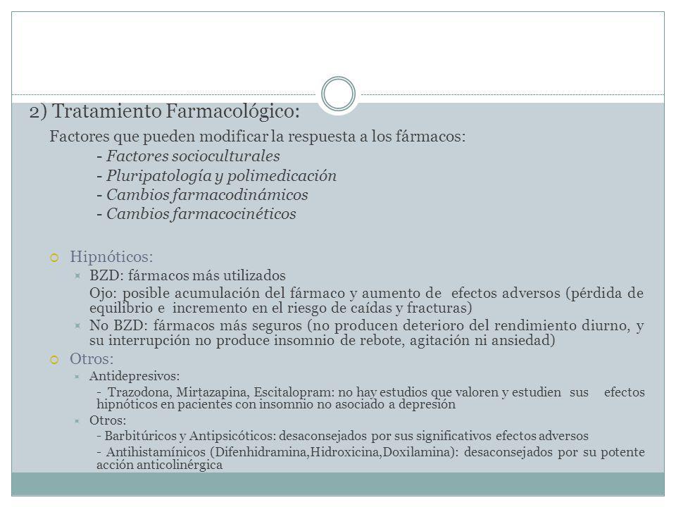 2) Tratamiento Farmacológico: Factores que pueden modificar la respuesta a los fármacos: - Factores socioculturales - Pluripatología y polimedicación