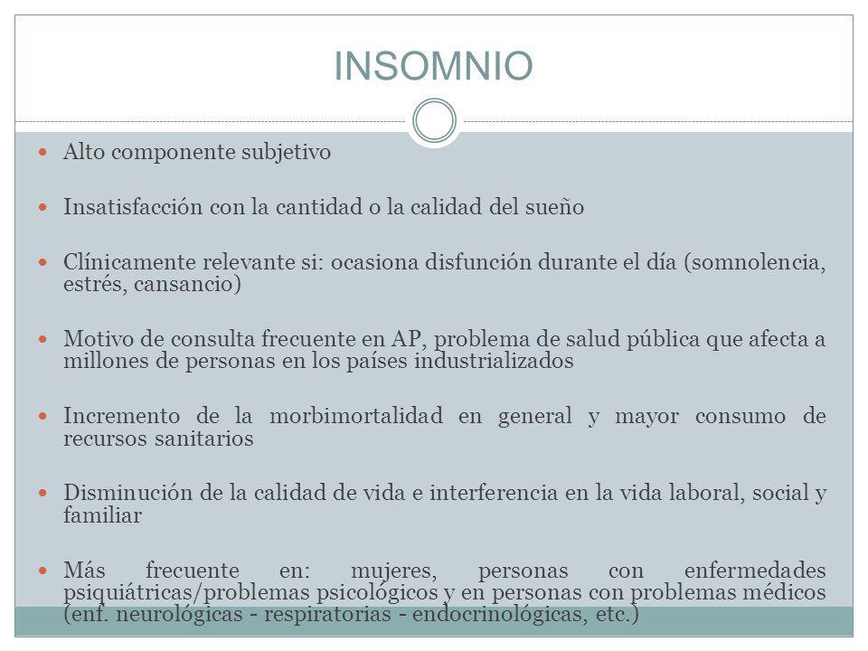 INSOMNIO Alto componente subjetivo Insatisfacción con la cantidad o la calidad del sueño Clínicamente relevante si: ocasiona disfunción durante el día