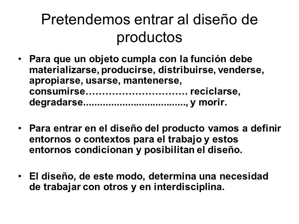 Pretendemos entrar al diseño de productos Para que un objeto cumpla con la función debe materializarse, producirse, distribuirse, venderse, apropiarse