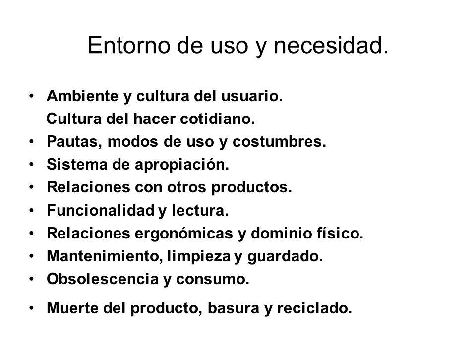 Entorno de uso y necesidad. Ambiente y cultura del usuario. Cultura del hacer cotidiano. Pautas, modos de uso y costumbres. Sistema de apropiación. Re