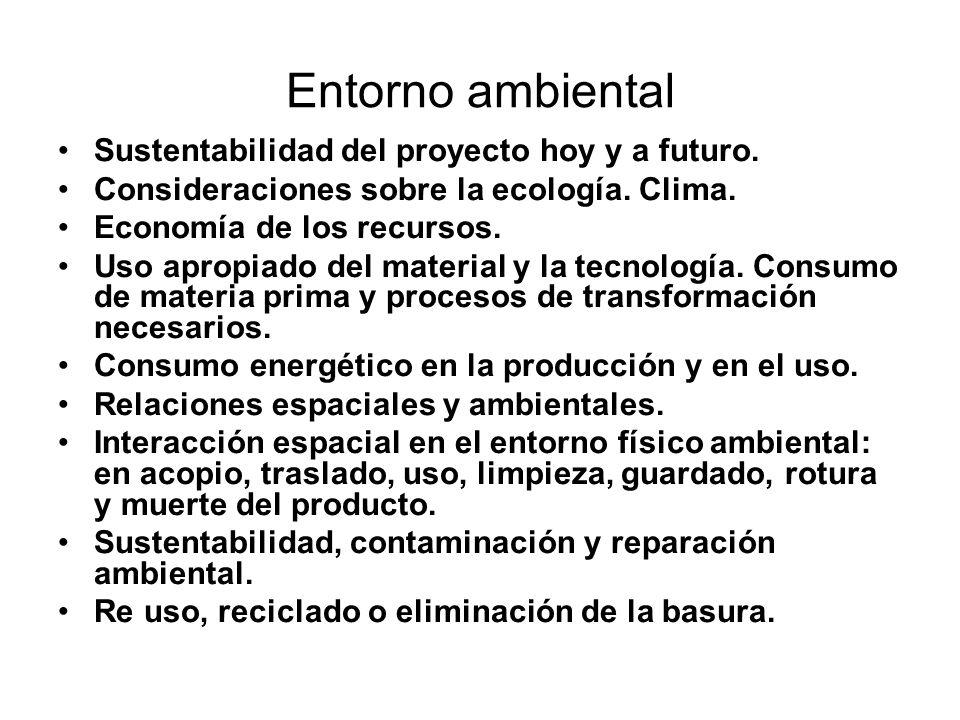 Entorno ambiental Sustentabilidad del proyecto hoy y a futuro. Consideraciones sobre la ecología. Clima. Economía de los recursos. Uso apropiado del m