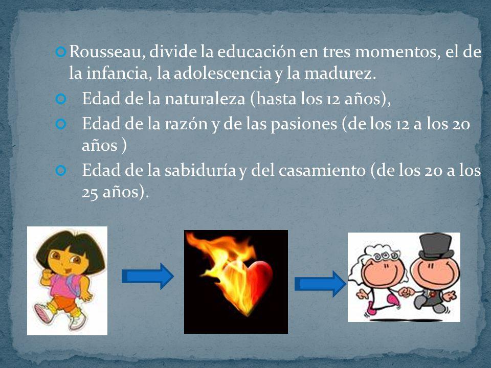 Rousseau, divide la educación en tres momentos, el de la infancia, la adolescencia y la madurez. Edad de la naturaleza (hasta los 12 años), Edad de la