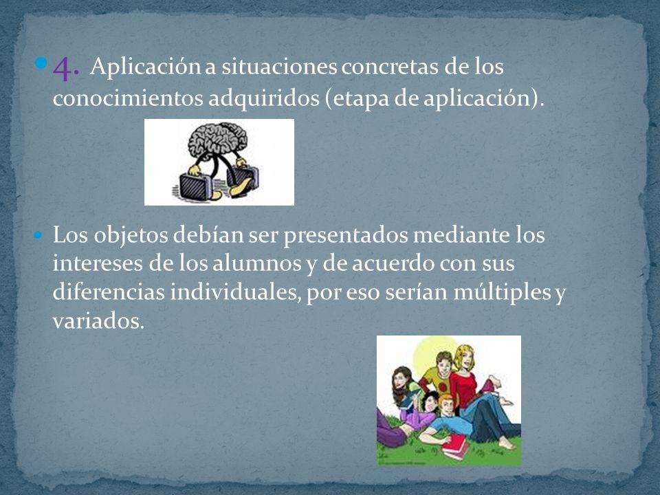 4. Aplicación a situaciones concretas de los conocimientos adquiridos (etapa de aplicación). Los objetos debían ser presentados mediante los intereses