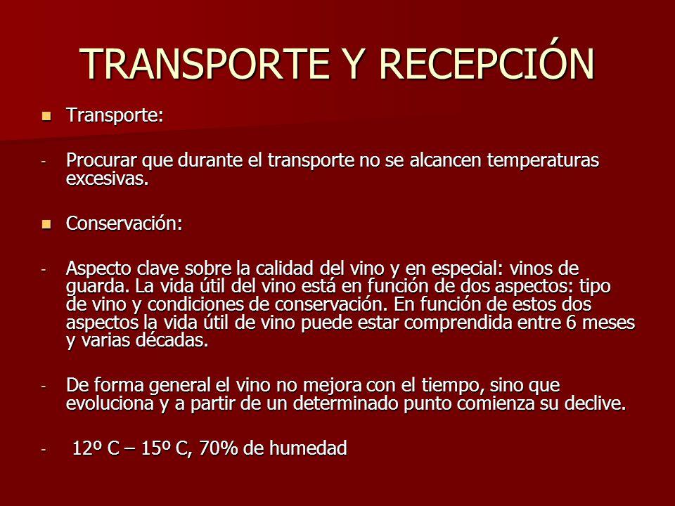 TRANSPORTE Y RECEPCIÓN Transporte: -P-P-P-Procurar que durante el transporte no se alcancen temperaturas excesivas.