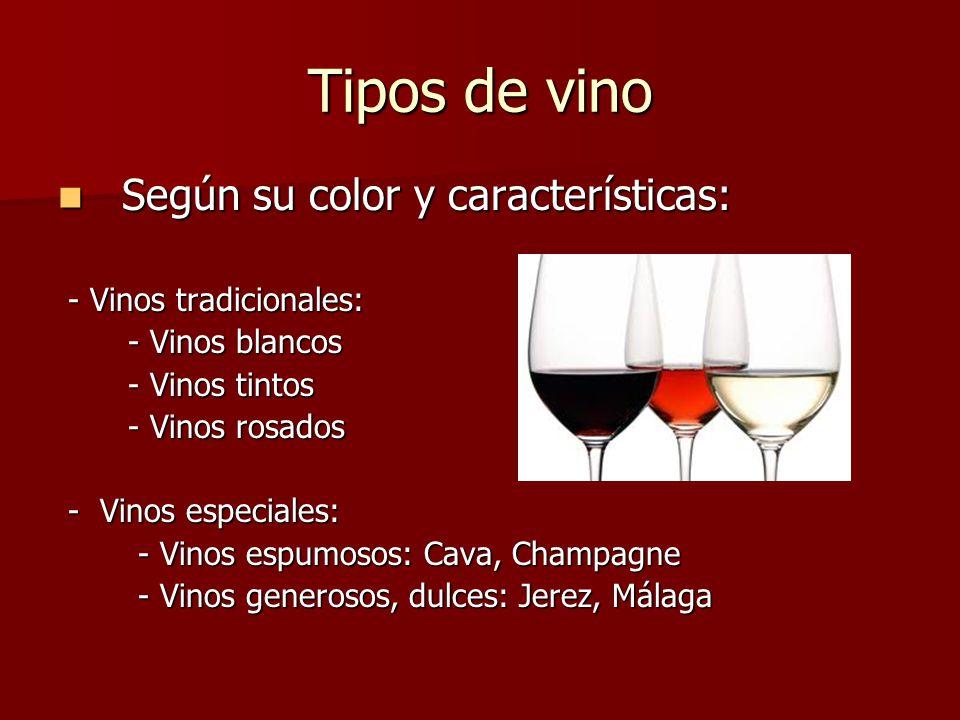 Tipos de vino Según su color y características: - Vinos tradicionales: - Vinos blancos - Vinos tintos - Vinos rosados - Vinos especiales: - Vinos espumosos: Cava, Champagne - Vinos generosos, dulces: Jerez, Málaga