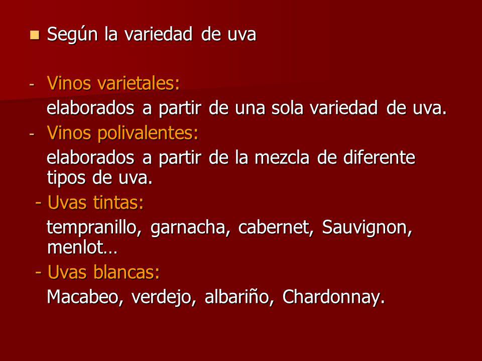 Según la variedad de uva -V-V-V-Vinos varietales: elaborados a partir de una sola variedad de uva.