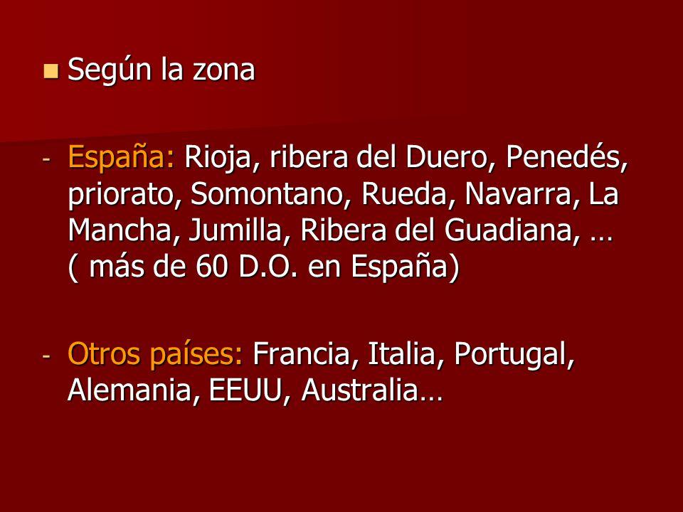 Según la zona -E-E-E-España: Rioja, ribera del Duero, Penedés, priorato, Somontano, Rueda, Navarra, La Mancha, Jumilla, Ribera del Guadiana, … ( más de 60 D.O.