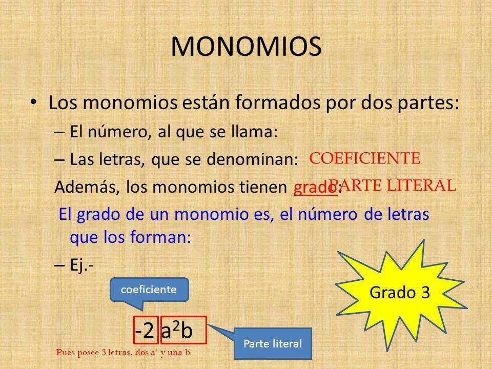 MONOMIOS Los monomios están formados por dos partes: – El número, al que se llama: – Las letras, que se denominan: Además, los monomios tienen grado: El grado de un monomio es, el número de letras que los forman: – Ej.- -2 a 2 b coeficiente Parte literal Grado 3 COEFICIENTE PARTE LITERAL Pues posee 3 letras, dos a s y una b