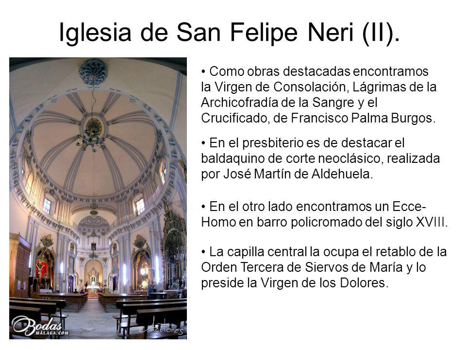 Como obras destacadas encontramos la Virgen de Consolación, Lágrimas de la Archicofradía de la Sangre y el Crucificado, de Francisco Palma Burgos. En