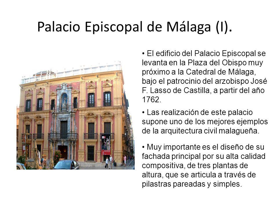 Palacio Episcopal de Málaga (I). El edificio del Palacio Episcopal se levanta en la Plaza del Obispo muy próximo a la Catedral de Málaga, bajo el patr