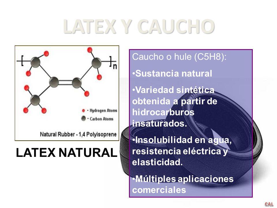 LATEX Y CAUCHO Caucho o hule (C5H8): Sustancia natural Variedad sintética obtenida a partir de hidrocarburos insaturados. Insolubilidad en agua, resis